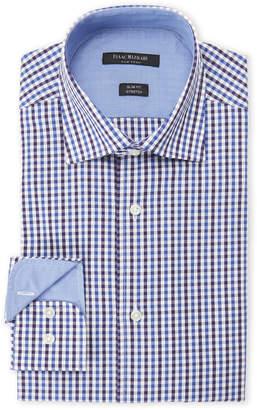 Isaac Mizrahi Purple & Navy Square-Print Slim Fit Stretch Dress Shirt
