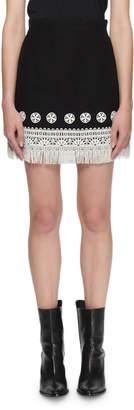 Andrew Gn A-Line Linen Lace Fringe Skirt