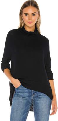 Bobi Draped Rib Cowl Neck Sweater