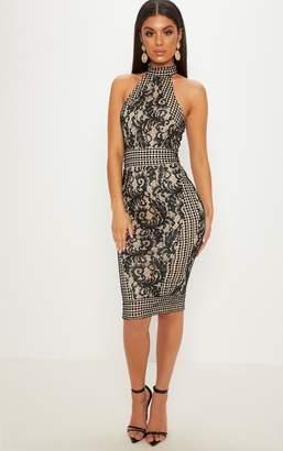 PrettyLittleThing Black Lace Crochet High Neck Midi Dress