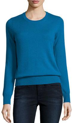 Neiman Marcus Cashmere Collection Long-Sleeve Crewneck Cashmere Sweater $250 thestylecure.com