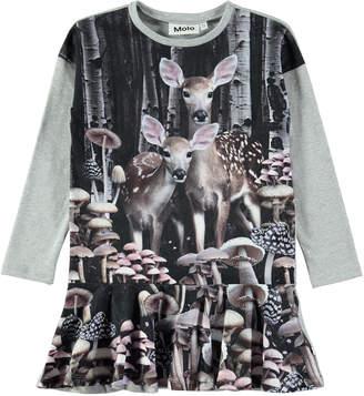 Molo Claire Long-Sleeve Deer-Print Dress, Size 2T-12