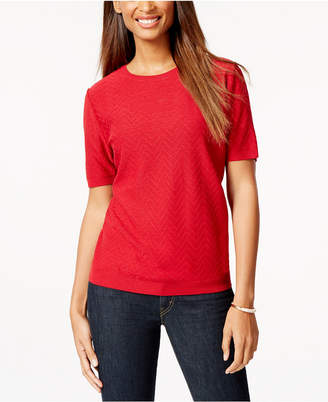 Alfred Dunner Textured Chevron Short-Sleeve Sweater $29.98 thestylecure.com