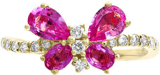Effy Pink Sapphire (1-3/8 ct. t.w.) & Diamond (1/5 ct. t.w.) Butterfly Ring in 14k Gold