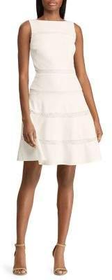 Lauren Ralph Lauren Lace-Trimmed Crepe Fit--Flare Dress