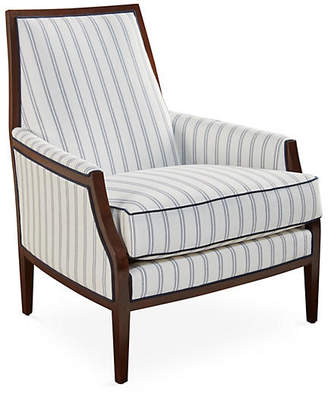 Joe Ruggiero Collection Bergen Chair - Navy Stripe Sunbrella