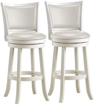 CorLiving Woodgrove White Wash Bar Height Barstool with Leatherette Seat, Set of 2