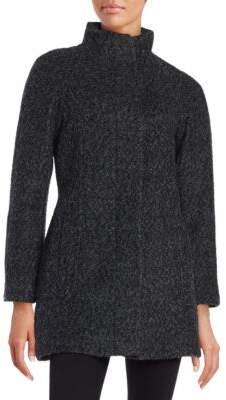 Anne Klein Wool-Blend Zip Front Coat