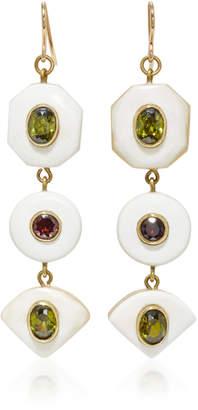 Ashley Pittman Gold-Tone Horn Zircon and Garnet Earrings
