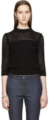 Bottega Veneta Black Cropped Crewneck Sweater
