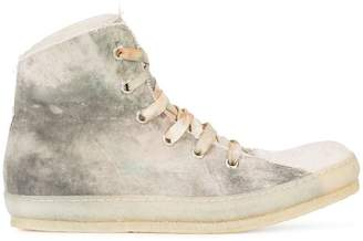 A Diciannoveventitre dye finish hi-top sneakers
