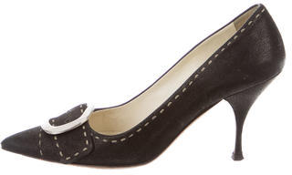 pradaPrada Leather Pointed-Toe Pumps