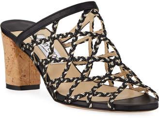 f3c490538dc Jimmy Choo Dean Braided Rope   Leather Cutout Slide Sandals