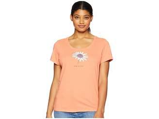 Life is Good Beautiful Daisy Crusher Scoop Neck T-Shirt