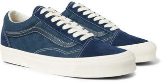 Vans Og Old Skool Lx Leather-Trimmed Suede And Checkerboard Canvas Sneakers