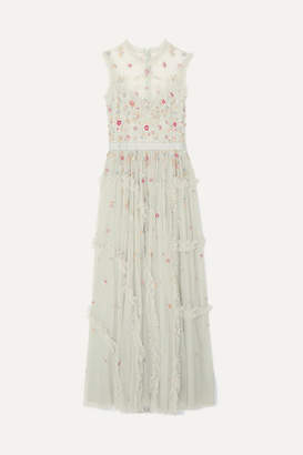 Needle & Thread Sequin-embellished Tulle Gown - Mint