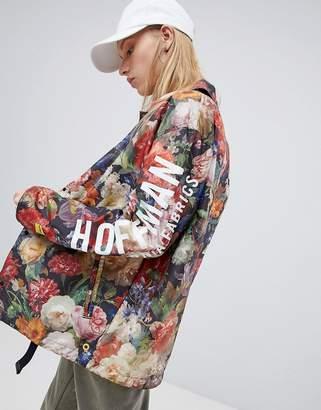 Herschel x Hoffman voyage packable coach jacket back logo print in floral
