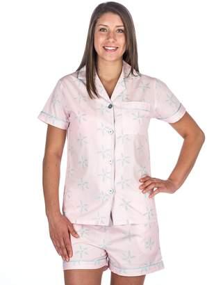 Noble Mount Womens 100% Cotton Poplin Short Pajama Set - Starlight Pink/Aqua - S