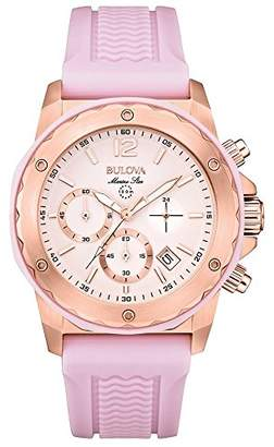 Bulova Marine Star Women's Quartz Watch with Pink Dial Analogue Display and Pink Rubber Strap 98M118