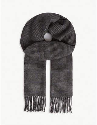 Ralph Lauren Purple Label Check print camel hair scarf