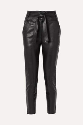 Veronica Beard Faxon Belted Leather Slim-leg Pants - Black