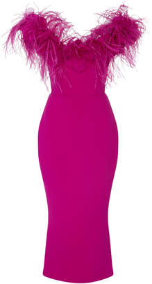 Marchesa Off The Shoulder Feather Midi Dress
