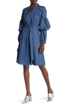 CQ by CQ Two Tier Puff Sleeve Waist Belt Chambray Shirt Dress