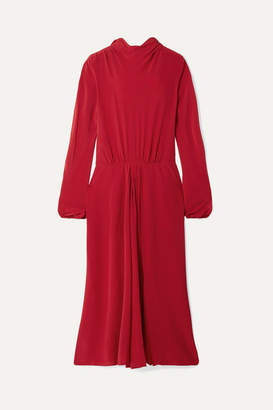 Prada - Pleated Silk Crepe De Chine Midi Dress - Red