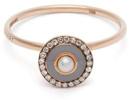 Selim Mouzannar - 18kt Rose Gold, Diamond And Pearl Ring - Womens - Grey
