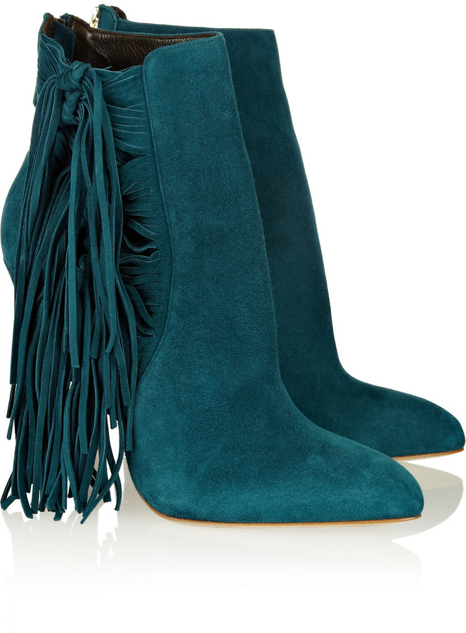 Brian Atwood Pipi fringed suede ankle boots