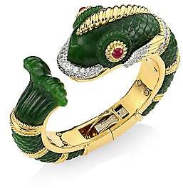 David Webb Women's Kingdom 18K Yellow Gold, Jade & Diamond Fish Cuff Bracelet