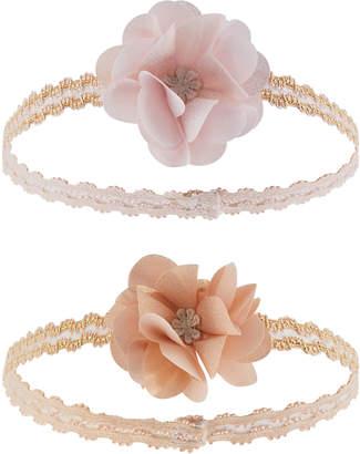 Monsoon Baby 2X Shimmer Pom Flower Headbands