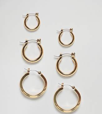 Glamorous multipack gold hoop earrings