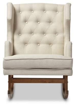 Baxton Studio Iona Mid - Century Retro Modern Light Fabric Upholstered Button - Tufted Wingback Rocking Chair - Light Beige