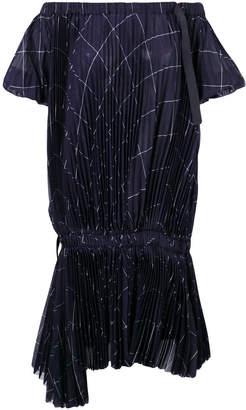 Sacai grid print pleated off-the-shoulder dress