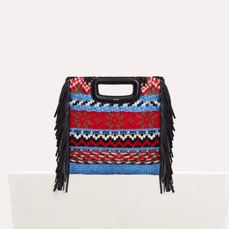 Maje Mini M bag in knit and leather