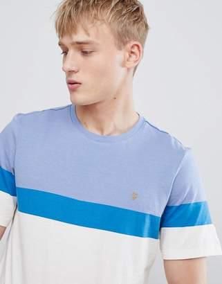 Farah Haryln block stripe t-shirt in blue