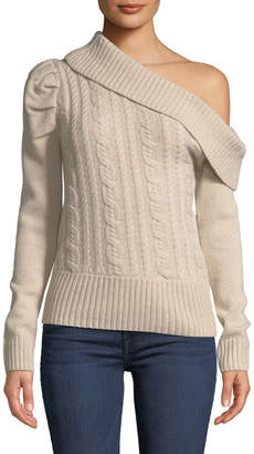 Marled By Reunited Diagonal Off-The-Shoulder Cable-Knit Sweater