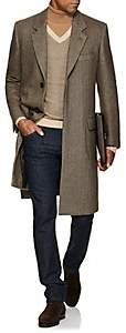 Brioni Men's Cashmere Herringbone Three-Button Overcoat - Beige, Tan