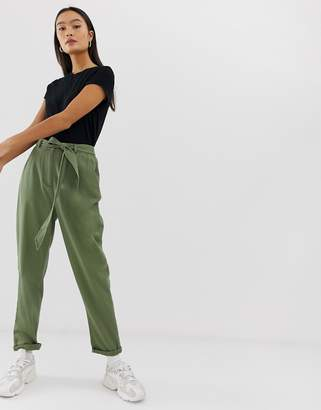 Asos Design DESIGN washed soft twill tie waist casual pant