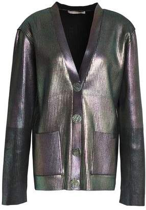 Christopher Kane Coated Ribbed-Knit Cardigan
