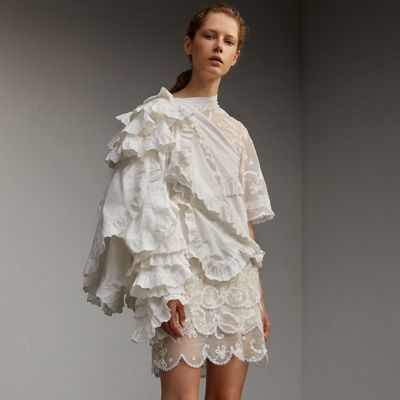 Burberry Burberry Broderie Anglaise Ruffle Cotton and Lace Dress