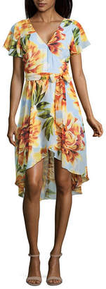 BY AND BY by&by Short Sleeve Floral Wrap Dress-Juniors