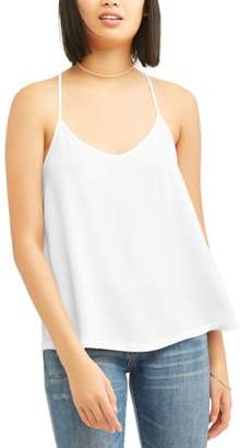 No Boundaries Juniors' Woven Caged Back Cami (Extended Sizes)