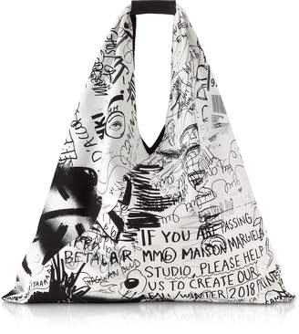 Maison Margiela White and Black Drawings Print Japanese Tote Bag