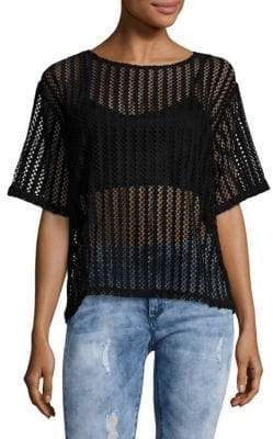 KENDALL + KYLIE Lattice Laced Jersey Top