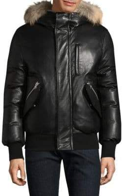 Mackage Gable-S Fur-Trim Leather Bomber Jacket