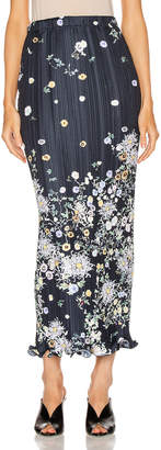 Givenchy Long Pleated Wave Details Skirt in Navy & Yellow | FWRD