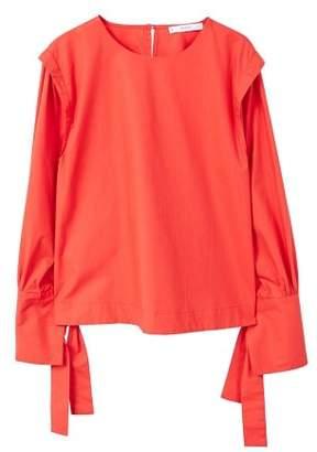 MANGO Bow poplin blouse
