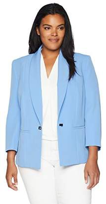Kasper Women's Plus Size Stretch Crepe One Button Jacket with Notch Collar